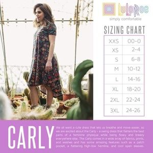 Carly Dress Sizing Info